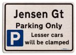 Jensen Gt Car Owners Gift| New Parking only Sign | Metal face Brushed Aluminium Jensen Gt Model